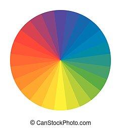 Círculo arcoiris espectral de 24 segmentos multicolores de policromo. La paleta colorida espectral del pintor.