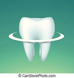 círculo, brillante, diente