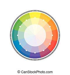 Círculo de arco iris multicolor policromo de 12 segmentos. La paleta colorida espectral del pintor.