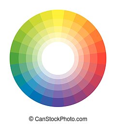 Círculo de arco iris multicolor policromo de 24 segmentos. La paleta colorida espectral del pintor.