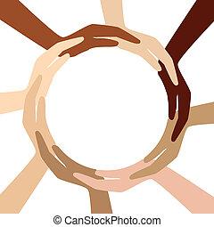 Círculo de diferentes manos