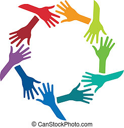 Círculo de estrechar manos logotipo de imagen