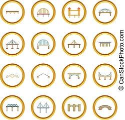 Círculo de iconos de construcción del puente