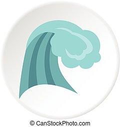 Círculo de iconos de las olas del océano