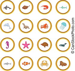 Círculo de iconos habitantes del océano