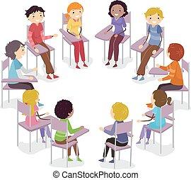 Círculo de sillas para adolescentes