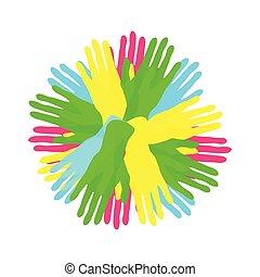 Círculo de simples manos coloridas, comunidad o concepto de diversidad, ilustración de icono vector