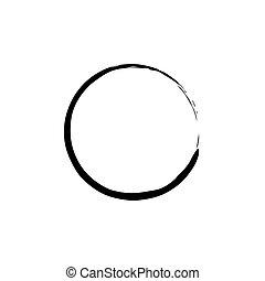 Círculo enso zen negro sobre fondo blanco. Ilustración de vectores