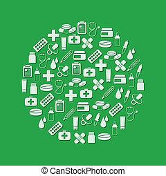 círculo, farmacia, iconos
