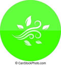 Círculo icono - hojas soplando