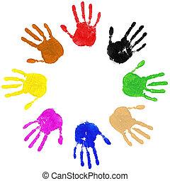círculo, manos