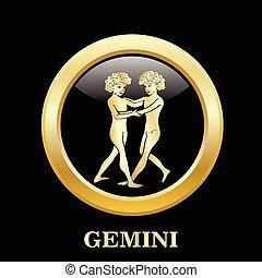 círculo, marco, géminis, zodíaco, señal