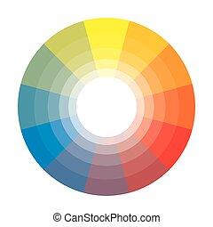 Círculo multicolor de arcoiris de 12 segmentos con sombras. La paleta colorida espectral del pintor.