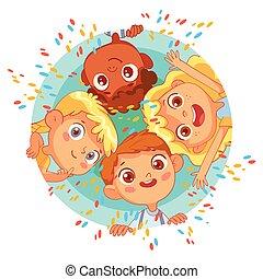 círculo, niños, grupo