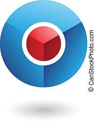 Círculo rojo del núcleo azul icono abstracto
