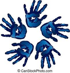 Círculo vectorial de manos creativas azules