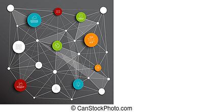 Círculos abstractos del Vector Oscuro plantilla de redes informativas