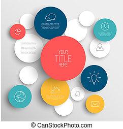 Círculos abstractos en círculos informativos