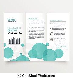 Círculos Azules Elegantemente Creativos Triplinales de diseño de folletos