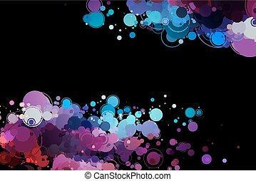 Círculos de color en un fondo negro