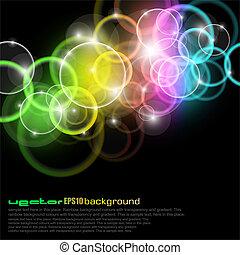 Círculos de luz con colores del arco iris