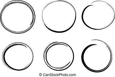 Círculos dibujados a mano, elementos de diseño vectorial