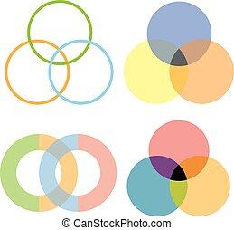 círculos, diseño, intersección