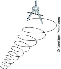 círculos, espiral, arriba, diseño, diseño, compás, dibujo