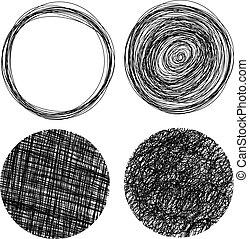 Círculos grunge dibujados a mano