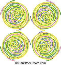 Círculos hechos de espirales torcidas, azulejos, vector