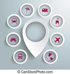 círculos, iconos, 8, viaje, marcador, piad, ubicación, blanco