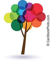 Círculos multicolores, imagen de árbol. Concepto la felicidad y la buena vida. Ícono Vector