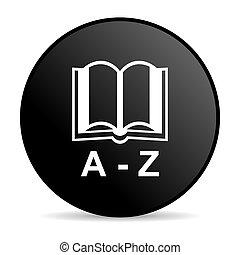 Círculos negros diccionarios, icono brillante