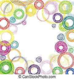 círculos, resumen, cuadrado, fondo coloreado