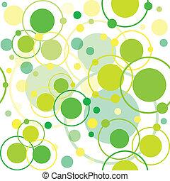 Círculos verdes y puntos de patrón, fondo abstracto