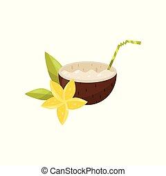 Cóctel de coco exótico con vector de flor de ciruela, ilustración en un fondo blanco