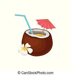Cóctel tropical en coco con paja y vector de paraguas ilustración en un fondo blanco