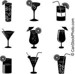 cócteles, fiesta, pictograms, alcohol