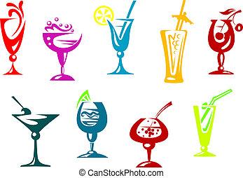 cócteles, jugo, alcohol