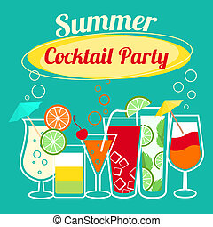 cócteles, verano, plantilla, fiesta