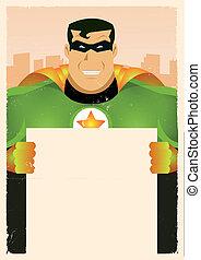 Cómico super héroe sosteniendo señal