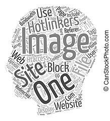 Cómo bloquear Hotlinkers texto fondo concepto de palabra en voz alta