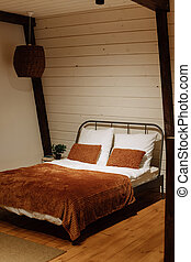 cómodo, cama, doble, manta, almohadas