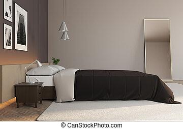 cómodo, cama, dormitorio