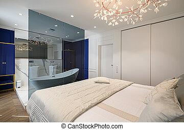 cómodo, cama, elegante, doble, grande, clásico, dormitorio