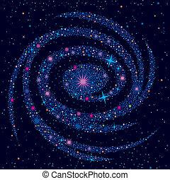 cósmico, plano de fondo, galaxia