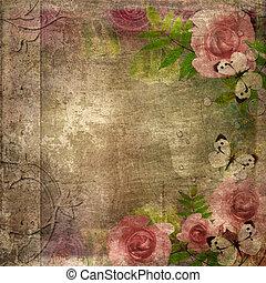Cúbrete del álbum de vitage con rosas y espacio para el texto (1 de la serie)