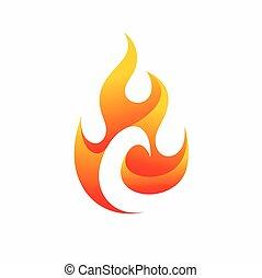 c, carta, fuego, logotipo, diseño
