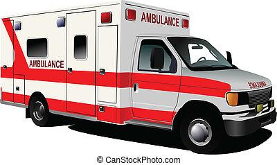 c, encima, ambulancia, moderno, white., furgoneta