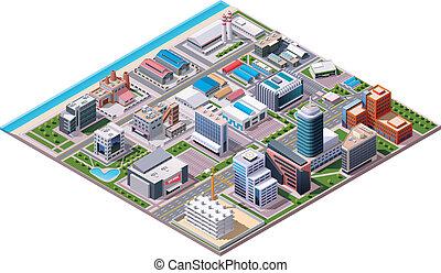 c, industrial, isométrico, empresa / negocio